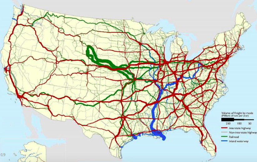 """US truck traffic map"""